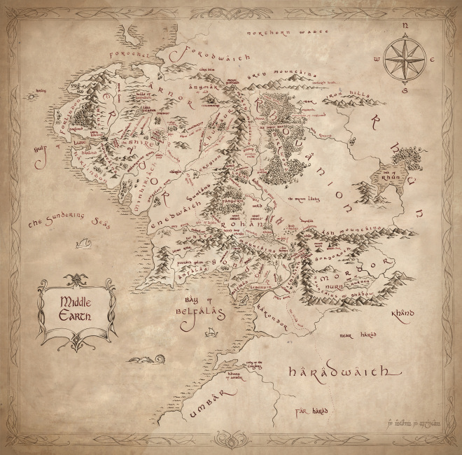lord of the rings middle earth map replica